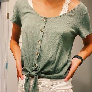 button up green shirt